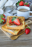 French Toasted with strawberry and Coffee, Breakfast Healthy Stock Photography