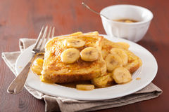 French toasts with caramelized banana for breakfast Stock Photography