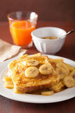 French toasts with caramelized banana for breakfast Royalty Free Stock Photo