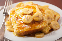 French toasts with caramelized banana for breakfast Stock Images