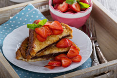 French toasts with chocolate spread and strawberry Royalty Free Stock Photography