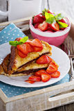 French toasts with chocolate spread and strawberry Royalty Free Stock Image
