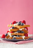 French toasts with creme fraiche and berries for breakfast Royalty Free Stock Image
