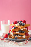 French toasts with creme fraiche and berries for breakfast Royalty Free Stock Images