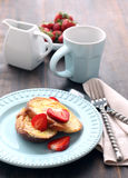 French toasts with fresh strawberry Stock Photo