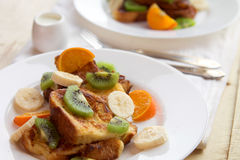 French toasts with fruits Royalty Free Stock Photos