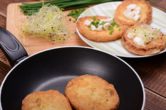 French toasts with goats cheese, fresh chives and sprouts. Royalty Free Stock Photography