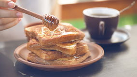 French toasts with honey. stock video