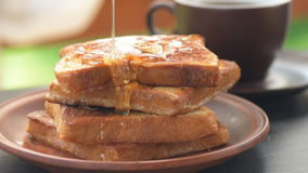 French toasts with honey. stock footage