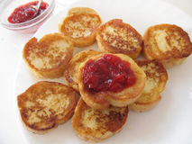 French toasts with jam. French toasts with strawberry jam stock photo