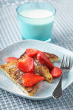 French toasts with strawberry Royalty Free Stock Photography