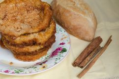 French toasts. Traditional Spanish torrijas royalty free stock photography