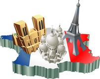 French tourism. An illustration of some tourist attractions in France, signifies French tourism Stock Photography