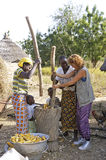 French tourist participates in a pounding. A French tourist participates in folding corn in good spirits with women from a village in Burkina Faso Stock Image