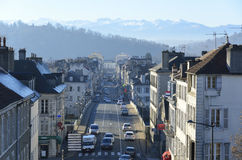 French town Pau against the winter Pyrenees Royalty Free Stock Image