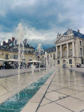 French town square with town hall and fountains Stock Photo