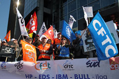 French trade unions demonstrate in Paris Royalty Free Stock Photo