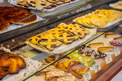 French traditional bakery pastry store Royalty Free Stock Image