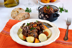 French traditional beef stew with red wine. Boeuf bourguignon stock photo