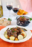 French traditional beef stew with red wine. Boeuf bourguignon royalty free stock images