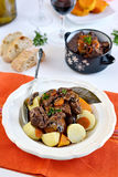 French traditional beef stew with red wine. Boeuf bourguignon stock photos