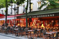 French traditional cafe located on the Place de la Sorbonne in P stock photos