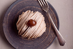French traditional cake Mont Blanc Royalty Free Stock Image