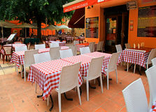 French traditional sidewalk cafe in Old Town of Nice, France. Royalty Free Stock Photos