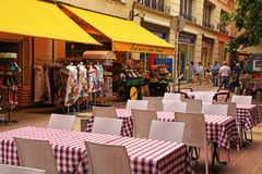 French traditional sidewalk cafe in Old Town of Nice, France. stock photography