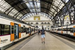 French train station in Barcelona Royalty Free Stock Photos