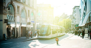 French tramway station in central Strasbourg France with people Royalty Free Stock Images