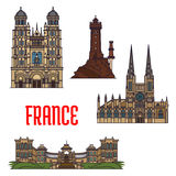 French travel landmarks icon, thin line style Royalty Free Stock Photo
