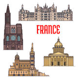 French travel sights icon in thin line style Stock Image