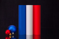 French tricolour and Christmas decoration on the black glass des Royalty Free Stock Photos