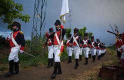 French troops marching Stock Image