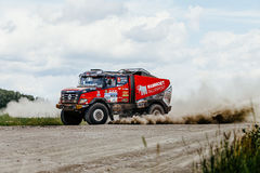 french truck rally car Renault driving on a dusty road Royalty Free Stock Photography
