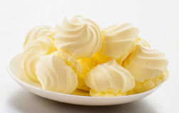 French vanilla meringue cookies on white background Stock Photos