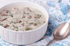 French veal ragout in white porcelain bowl. Blanquette de veau. Stock Photos