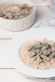 French veal ragout in white porcelain bowl. Royalty Free Stock Image