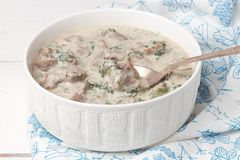 French veal ragout in white porcelain bowl. Stock Photos