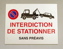 French vehicles towing sign Stock Photo
