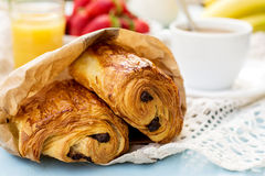 French viennoiserie pain au chocolat for breakfast. French viennoiserie croissant pain au chocolat for breakfast Royalty Free Stock Photo