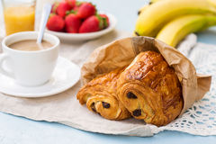 French viennoiserie pain au chocolat for breakfast Royalty Free Stock Images