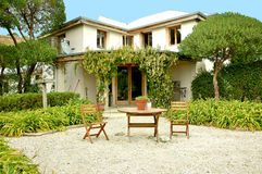 French Villa Courtyard Stock Photography