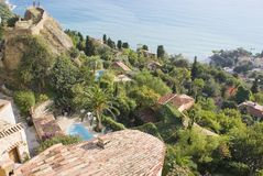 French Village. Old village of Cap Martin in French Riviera. View of the Mediterranean coast near Monaco Royalty Free Stock Image