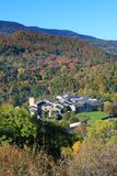 French village in autumnal landscape in Pyrenees Stock Photos