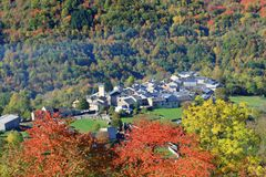 French village in autumnal landscape in Pyrenees Royalty Free Stock Photos