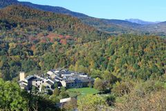 French village in autumnal landscape in Pyrenees Royalty Free Stock Images