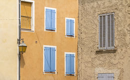 French village, blue shutter in Provence. Stock Photos