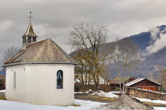 French village with chapel Stock Photo